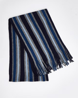 blue Knitted Stripe Scarf