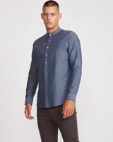 blue Paul Galvin Grandad Shirt
