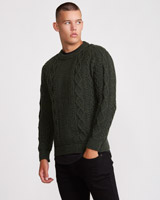 green Paul Galvin Traditional Aran Jumper
