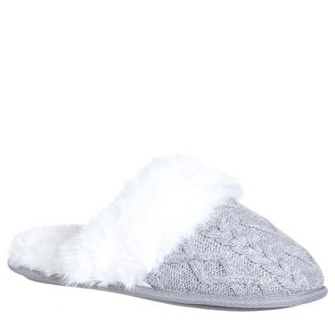 greyHeart Knit Mule Slippers