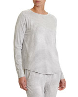 grey-marl Stripe Marl Pyjama Top