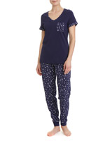navy Cotton Print Pyjamas