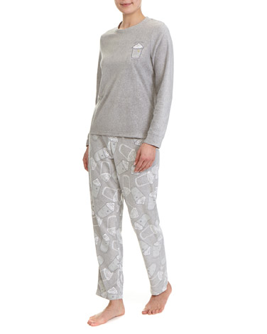 multi Coffee Micro Fleece Pyjamas