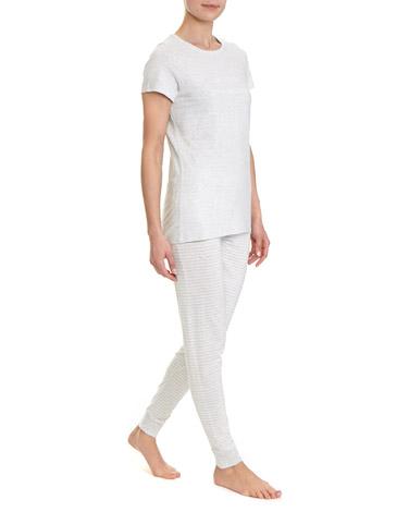 grey-marlStripe Knit Pyjama Set