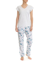 grey-marl Palm Print Pyjamas