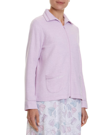lilac Satin Trim Bed Jacket