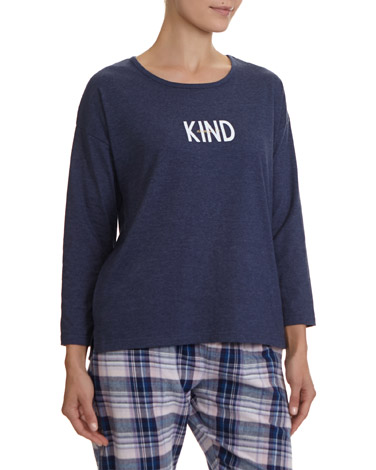 5daab5d235 denim Slogan Long Sleeve Top