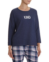 denim Slogan Long Sleeve Top