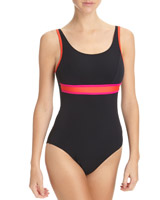pink-black Sports U Back Swimsuit