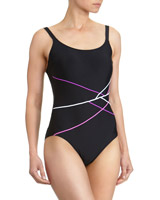 pink Multi Pipe Sport Swimsuit