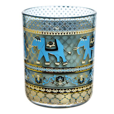 blue Carolyn Donnelly Eclectic Elephant Print Candle