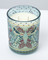 teal Carolyn Donnelly Eclectic Bird Decal Two Wick Candle