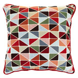 red Carolyn Donnelly Eclectic Graphic Geo Cushion