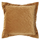 gold Paul Costelloe Living Velvet Quilted Euro Cushion