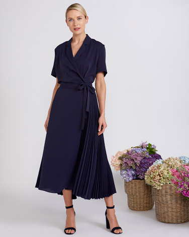 4596c2a08c4c Peter O'Brien at Dunnes Stores | NAVY Peter O'Brien Pleat Wrap Skirt ...