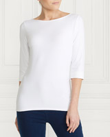 white Gallery Boat Neck Top