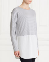 grey Gallery Stripe Woven Hem Top