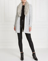 grey Gallery Faux Fur Collar Cardigan
