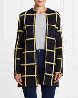 navy Gallery Check Cardigan