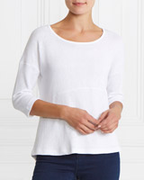 white Gallery Dip Hem Top