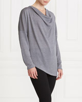 grey Gallery Cowl-Neck Knit Jumper