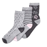 grey-marl Cushion Design Bamboo Socks - Pack Of 3