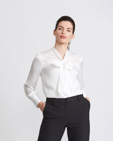 ivory Paul Costelloe Living Studio Satin Cuff Pussy Bow Blouse