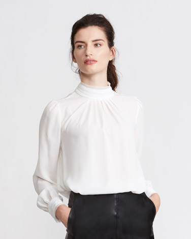 ivory Paul Costelloe Living Studio Ruffle Trim Blouse