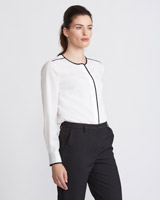 ivory Paul Costelloe Living Studio Piped Blouse
