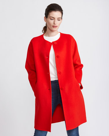 geranium Paul Costelloe Living Studio Collarless Wool Coat