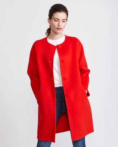 geraniumPaul Costelloe Living Studio Collarless Wool Coat