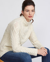 cream Paul Costelloe Living Studio Cable Polo Neck Jumper