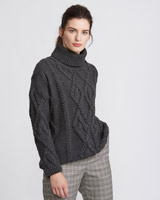 charcoal Paul Costelloe Living Studio Twist Roll Neck Jumper