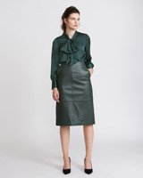 green Paul Costelloe Living Studio Leather Skirt