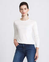 cream Paul Costelloe Living Studio Long Sleeve Crew-Neck Top