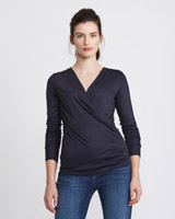 navy Paul Costelloe Living Studio Mercerised Wrap Top