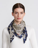multi Paul Costelloe Living Studio Leopard Silk Scarf