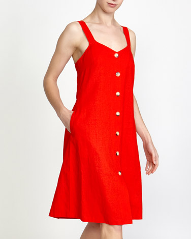 fe3cc5748e7 Button Front Linen Blend Dress