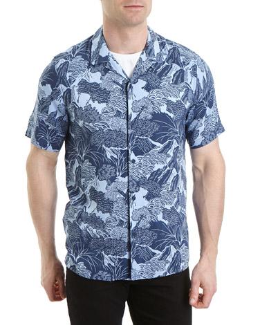 navySlim Fit Wood Block Print Resort Shirt