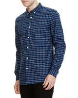 teal Slim Fit Long Sleeve Check Oxford Shirt