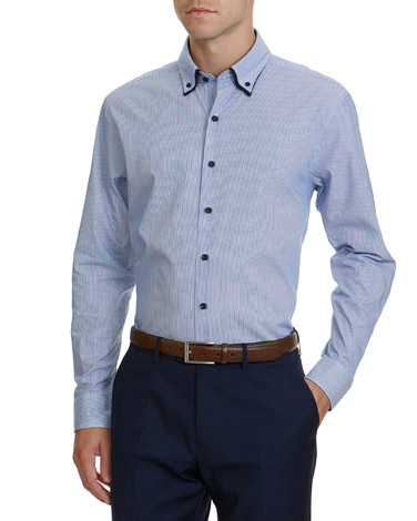 897be4f7f navy-stripe Regular Fit Double Collar Shirt