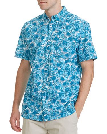 aquaRegular Fit Floral Slub Shirt