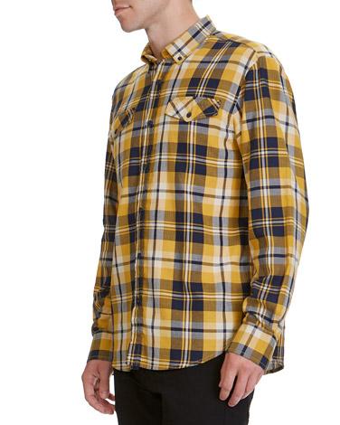 9bf0f1ab7de7f1 mustard Regular Fit Twill Check Shirt