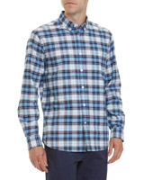 blue-check Regular Fit Long-Sleeved Check Oxford Shirt
