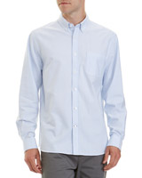 blue-stripe Regular Fit Cotton Oxford Shirt