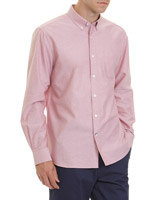 red Regular Fit Long-Sleeved Oxford Shirt