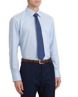 blue-whi-str Regular Fit Cotton Rich Design Shirt And Tie