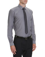 grey Slim Fit Shirt And Tie