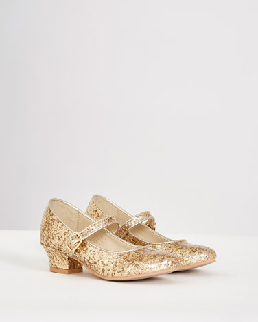 4b6d2567c4a5 gold Paul Costelloe Living Glitter Heeled Shoe