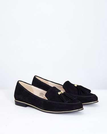 black-suedeGallery Suede Loafer With Tassel Trim